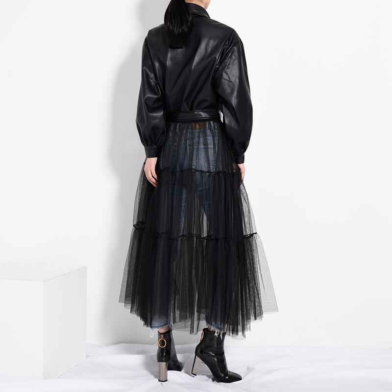 [EAM] Loose Fit Black Mesh Big Size Long Pu Leather Jacket New Lapel Long Sleeve Women Coat Fashion Spring Autumn 2020 PB27901 4