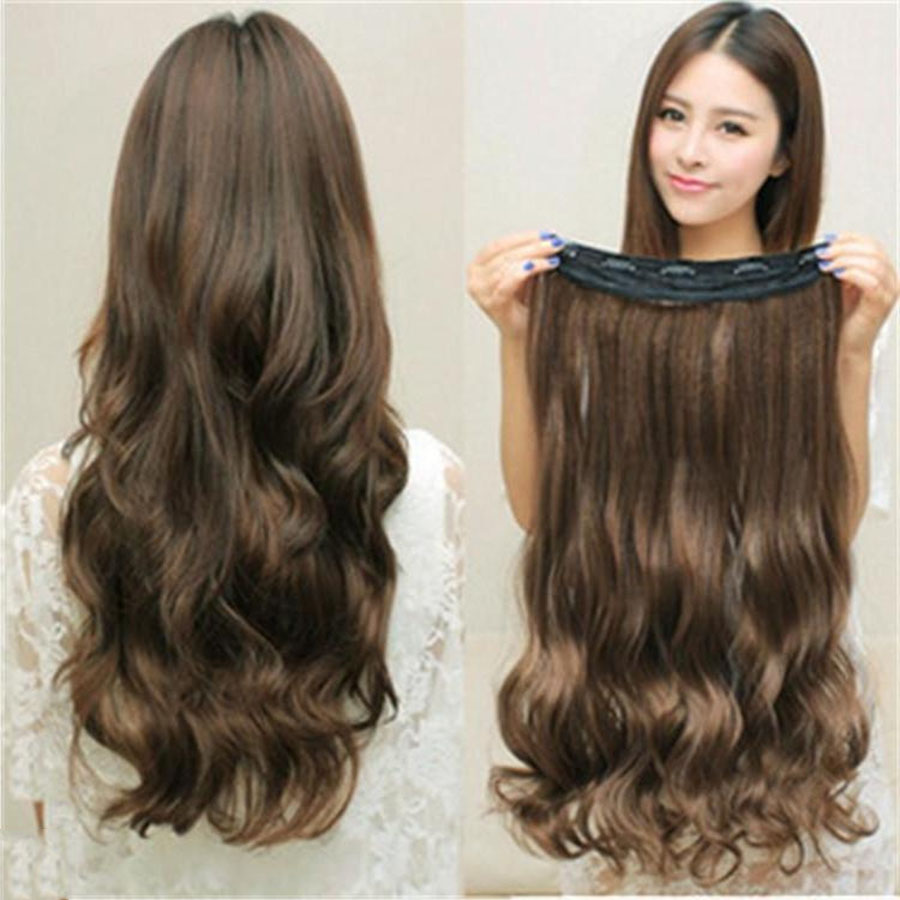5 Clips Of Wig Women Long Curly Hair Big Wave Invisible Seamless Hair Bundle Fluffy Natural Wig Piece Headwear