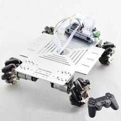 20kg de gran carga inteligente RC Mecanum rueda Robot Kit de chasis de coche Omni plataforma con controlador PS2 Mega2560 para proyecto Arduino
