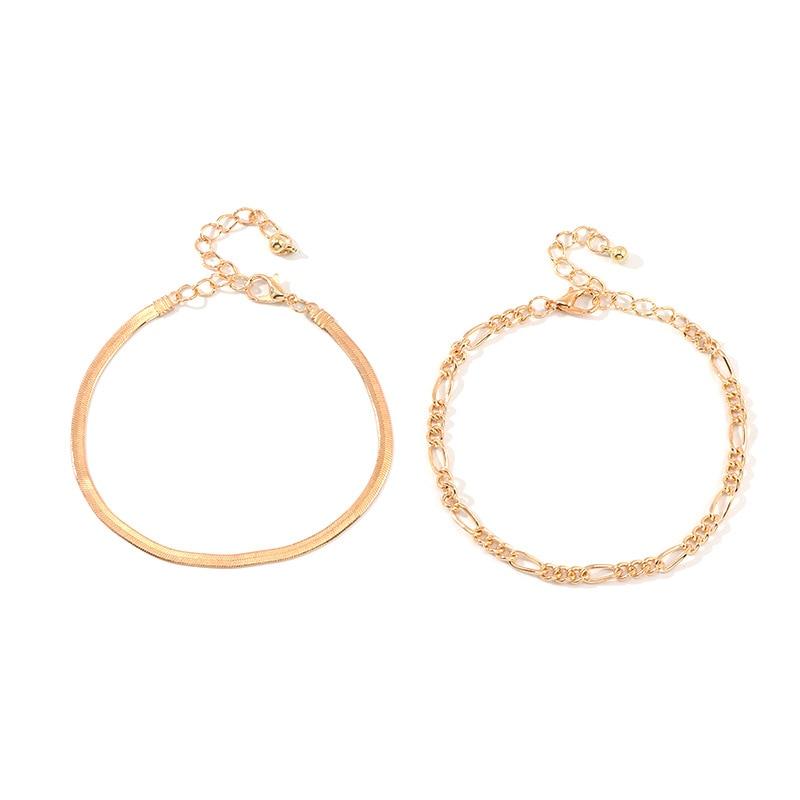 2 Pcs/Set Fashion Women Bracelets Simple Geometric Double Layer Metal Snake Chain Gold Bracelet Bangle Jewelry Gifts For Girls