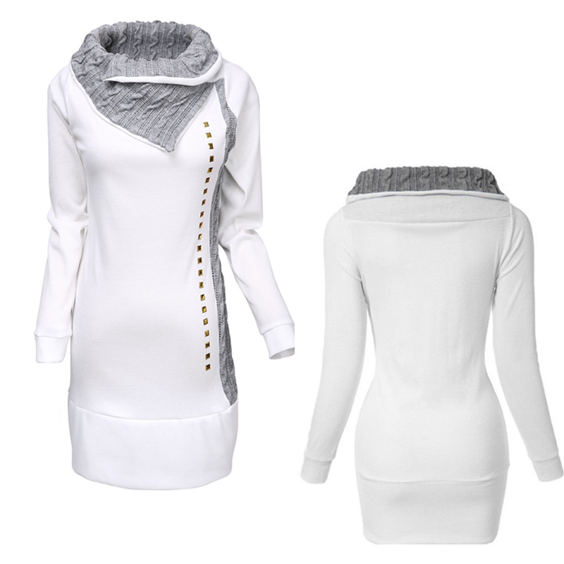 H98a408e6abb1465096c213d7c5a5173aX New Fashion Elegant Women Knit Collar Hoody Sweatshirt Ladies Bodycon Hoodies Pullover Tunic Dress S-XL