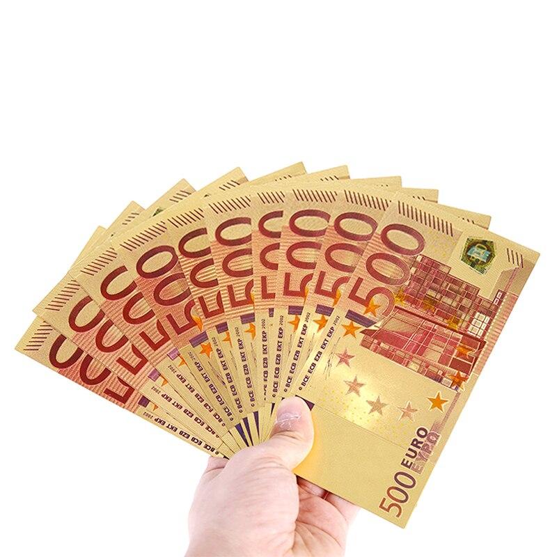 Памятные заметки 500 из золота европы Высококачественные банкноты подарки коллекционные украшения покрытые 24-каратным золотом