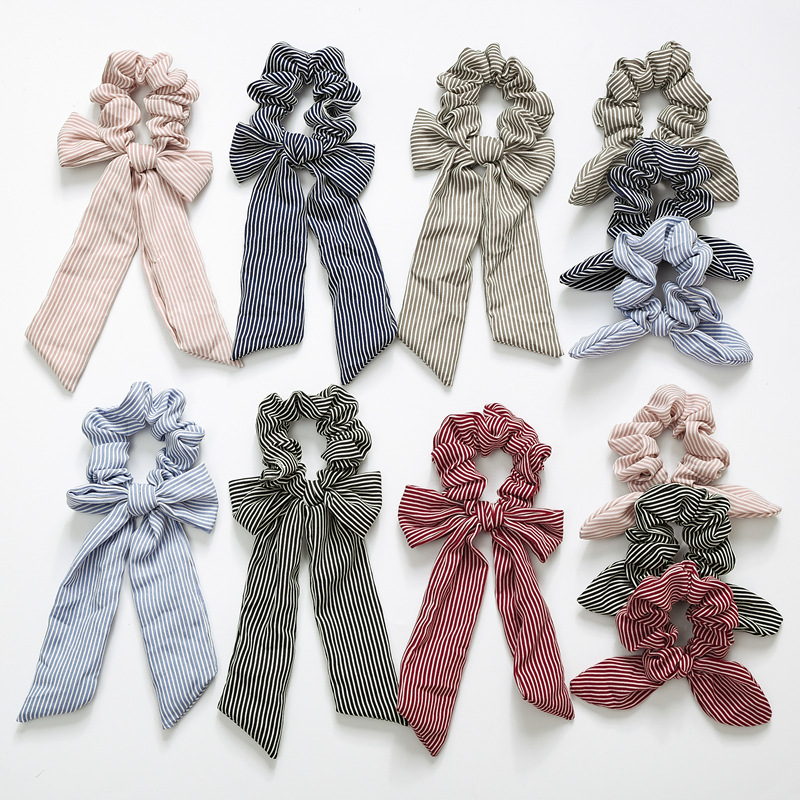 New Knotted Rabbit Ears Headdress Elastic Big Bow Girl Hair Band Horsetail Tie Solid Headdress Girl Hair Band Accessories