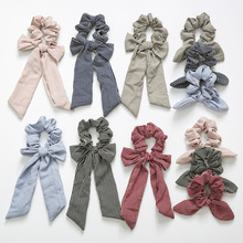 New knotted rabbit ears headdress elastic big bow girl hair band Horsetail Tie Solid accessories