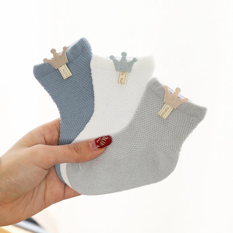 3 Pairs / Lot Baby Socks Mesh Socks Thin Cotton Models Boys Girls Socks Boneless Suture Newborn Socks Accessories Children Socks