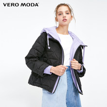 Vero Moda winter hooded Women's Winter Fake Two-piece Knit Hooded Down Jacket Coat |318423515(China)