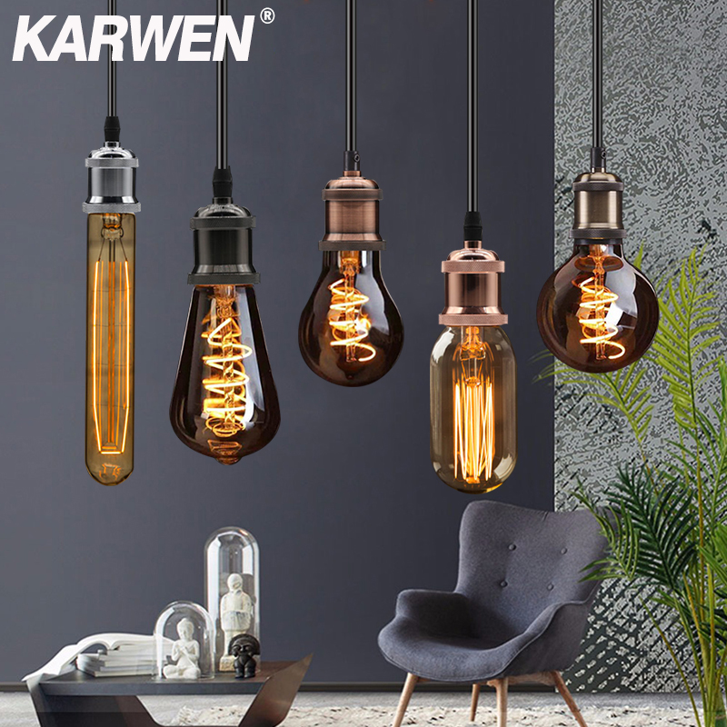 KARWEN E27 Lamp Holder Socket 110V 220V Vintage Pendant Lights Switch Screw Fitting E27 Lamp Bases Retro Edison Lamp Holder