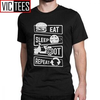 Comer dormir Scoot repetir camiseta con moto Italia Vespa Camiseta Hombre T camiseta de Hip-hop de puro algodón camisetas impresión