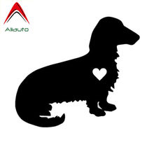 Aliauto Lovely Car Stickers Dachshund Dog Vinyl Sunscreen Anti-UV Decal Automobile Styling Accessories Black/Silver,15cm*13cm(China)
