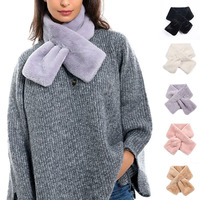 Winter Warm Scarf Thicken  Fashion Cute Imitation Rabbit Fur Collar Cross Scarf Solid Color Plush Shawl Scarf Christmas Women