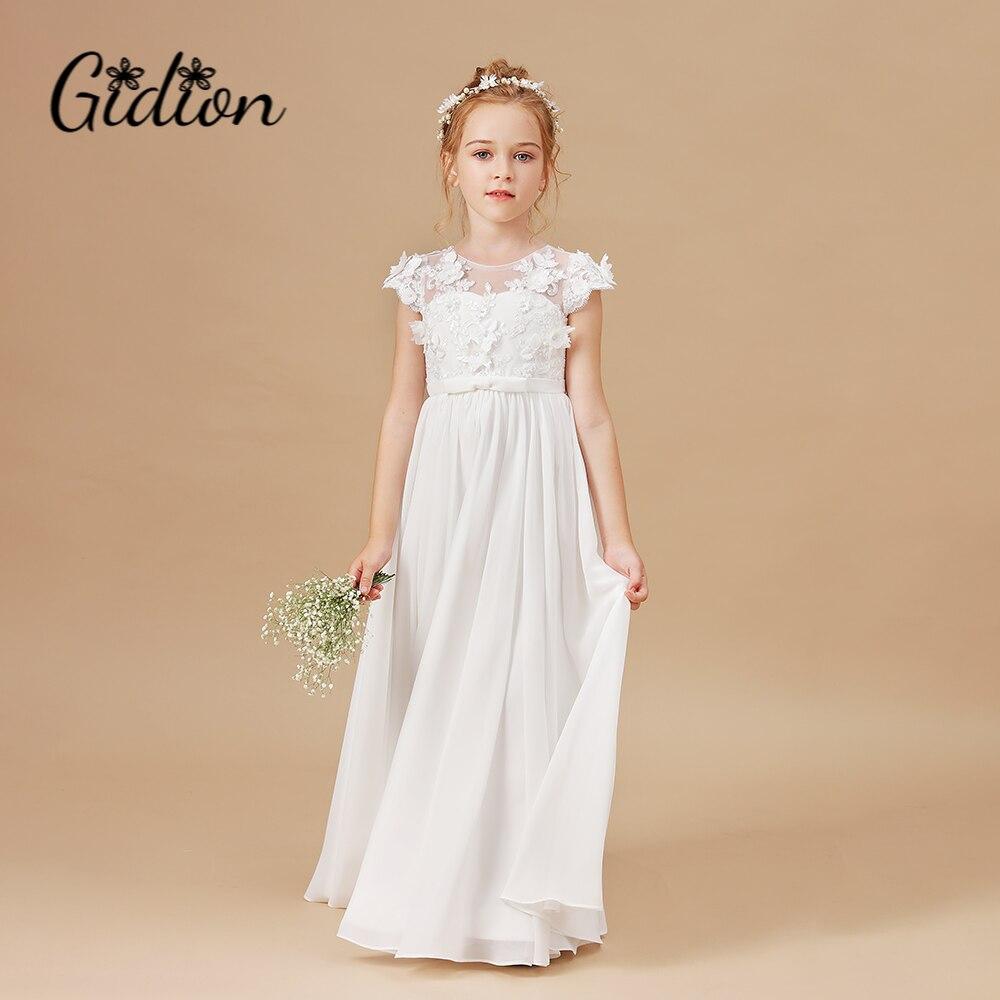 Для девочек в цветочек платья с аппликацией без рукавов детская День рождения Pageant платья держащих букет невесты на свадьбе, платья для перв...