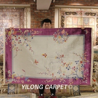 YILONG 4'x6' handmade chinese art decoration silk carpet rich color home rug