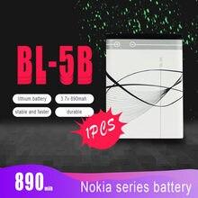 1pc 890mah BL-5B BL5BリチウムリチウムpoバッテリーノキアN83 N80 6120 6230 5200 3220 3230 5140 7360 5200 5208 交換用バッテリー