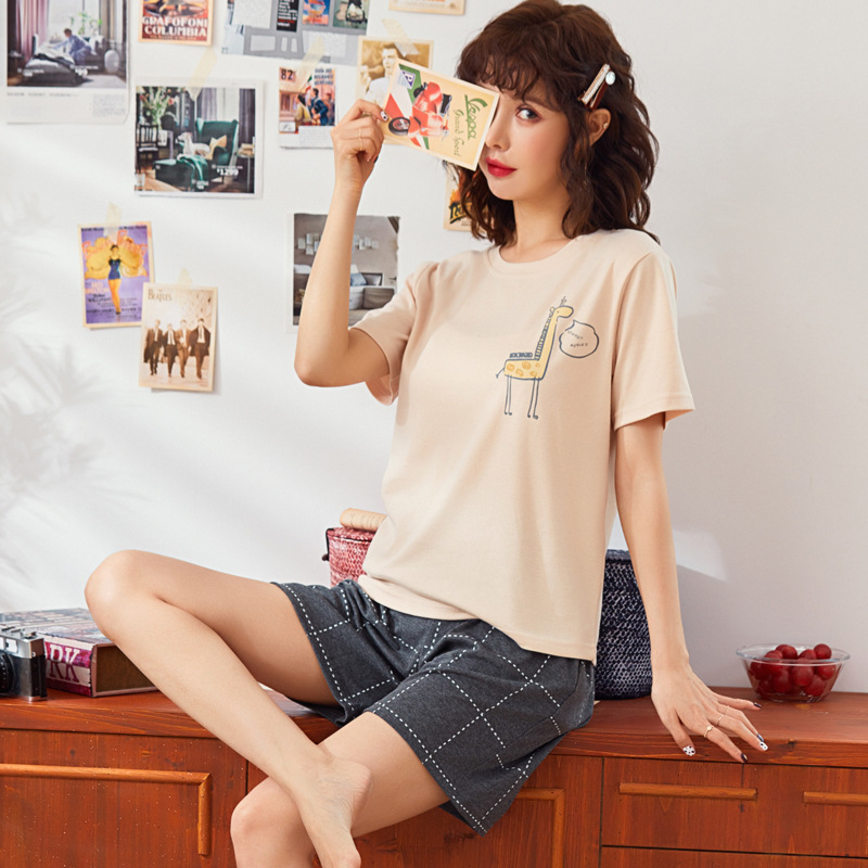 Summer New Products 2020 Cartoon Women's Cotton Pajamas Two-Piece Casual Comfortable Homewear Set T-shirt Short Sleeve