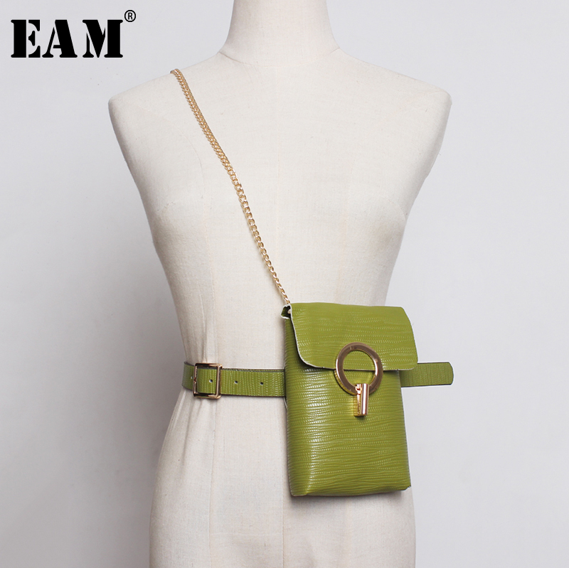 [EAM]  Pu Leather Metal Chain Circle Mini-bag Long Belt Personality Women New Fashion Tide All-match Spring Autumn 2020 1B021
