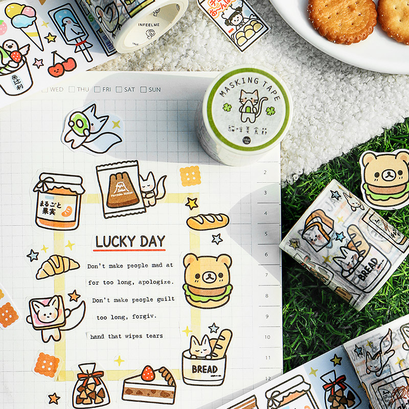 Mohamm 50mm X 5m Washi Masking Tape Snack Supply Station Series Fresh Cute Cartoon Animal Creative Scrapbooking Stationary Schoo