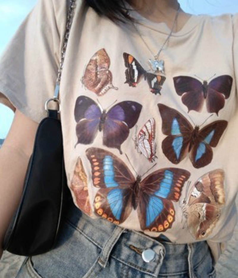 Sunfiz YF Fashion Tees Butterfly White Tees Retro Vintage Tees Short Sleeve Men And Women Couple Spring And Summer Tee