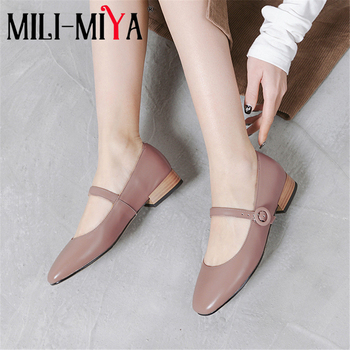 MILI-MIYA Casual Women Mary Janes Pumps Buckle Strap Full Genuine Leather Square Toe Ankle Wrap Dress Party Shoes