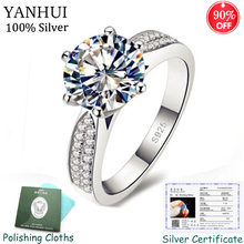 YANHUI Original 925 Solid Silver Rings Cubic Zircon Fine Jewelry Wedding Bands With Certificate