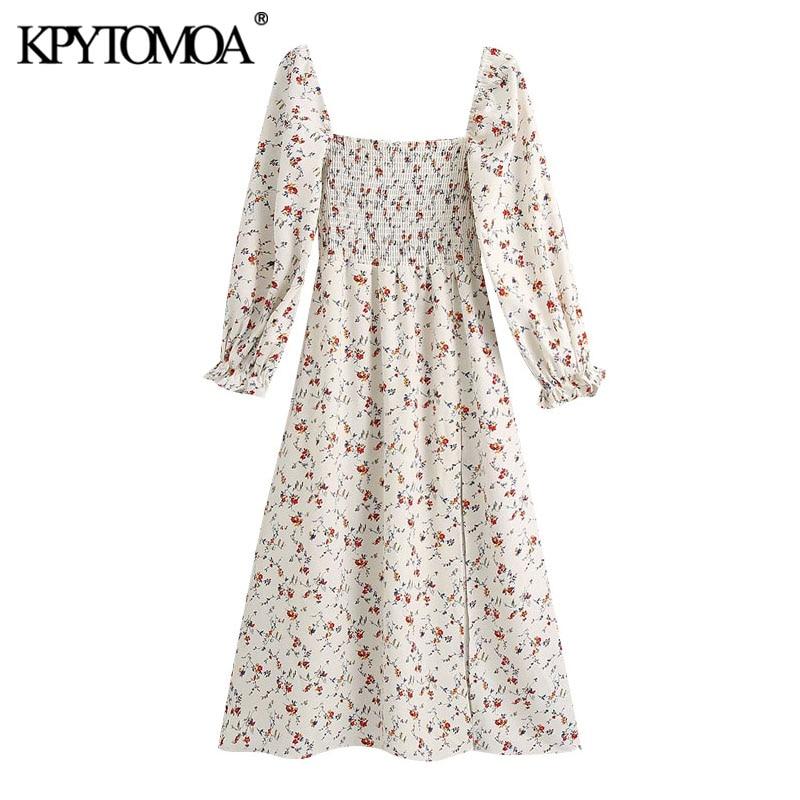 KPYTOMOA Women 2020 Chic Fashion Floral Print Smocked Midi Dress Vintage Square Collar Long Sleeve Side Slit Female Dresses