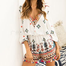 Spring and summer new style V-neck printed cropped sleeves j