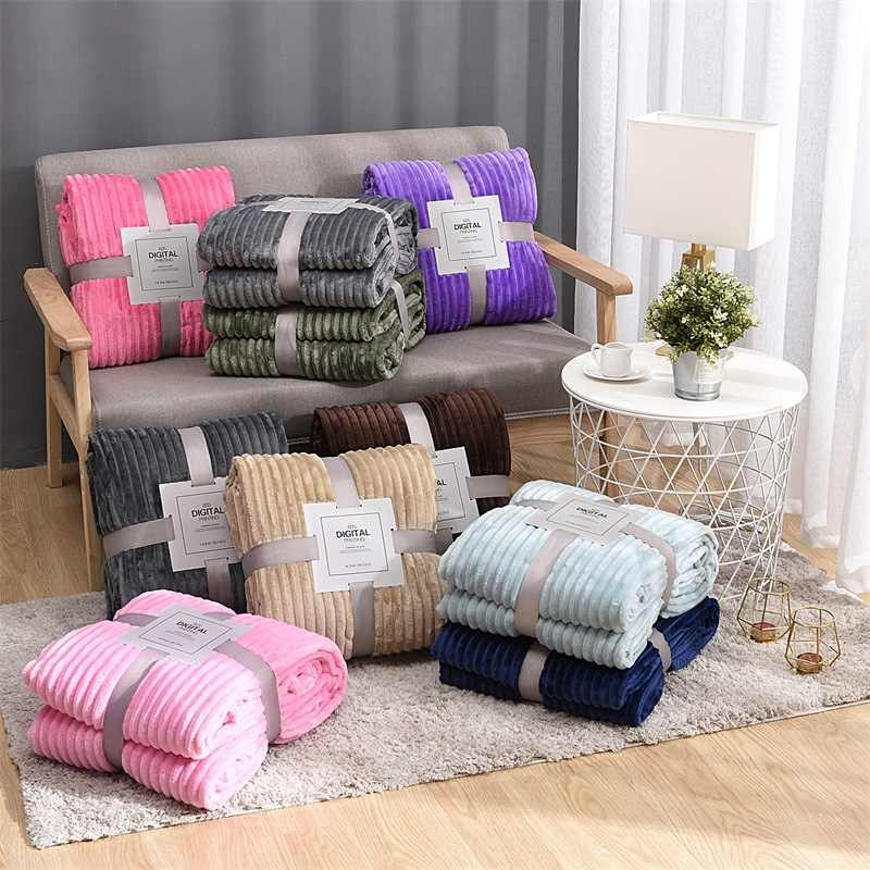 Flannel Winter Blanket Comforter Quilt Bedspread Stripe Air Conditioning Room Comforters Quilt for Children Adults Throw Blanket