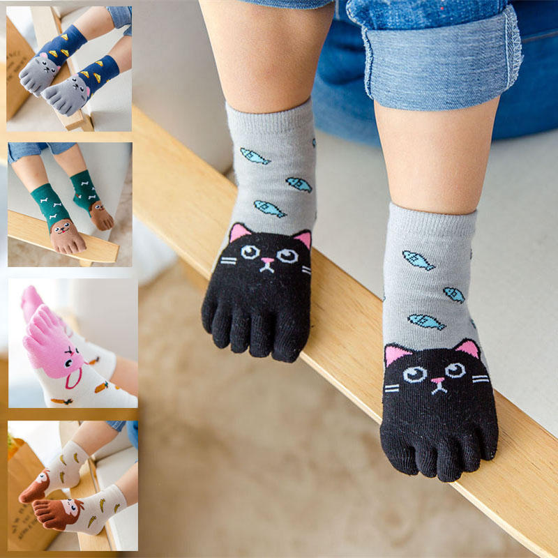 BalleenShiny Kids Five-finger Sock 100% Cotton Four Seasons Children Unisex Cute Cartoon Kids Soft Breathable Toe Sock For 3-12Y