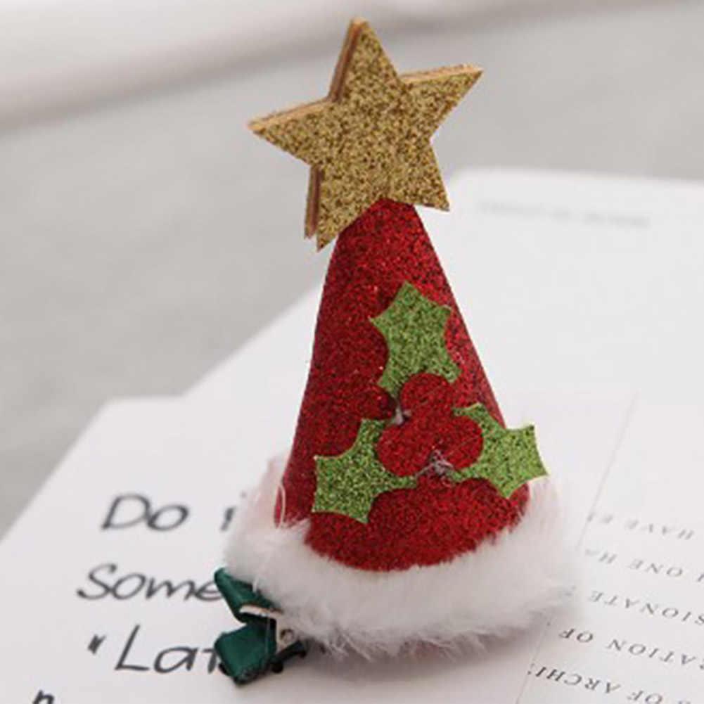 2019 חדש תינוקת חג המולד עץ גרב כובע כובע כוכב כפפות צורת סיכת ראש שיער קליפים