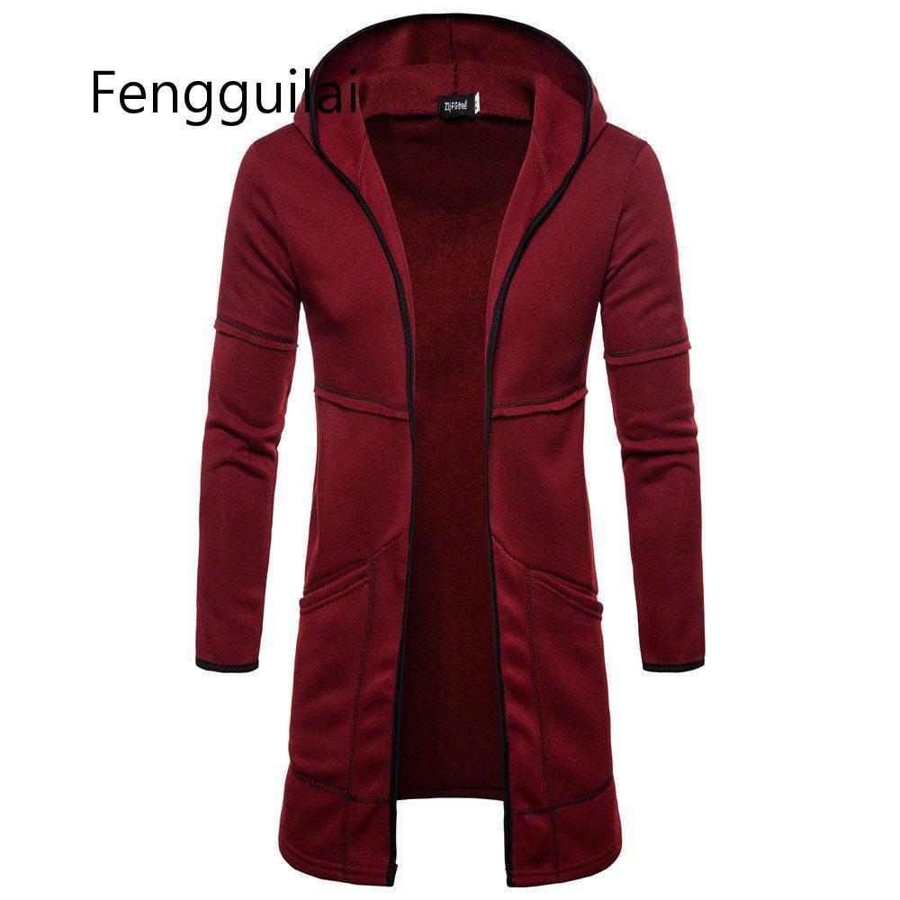 FENGGUILAI Men's Sweater Long Large Pocket Hooded Cardigan Fashion Windproof Casual Europe Size Top Coat Black Gray Nvay Blue