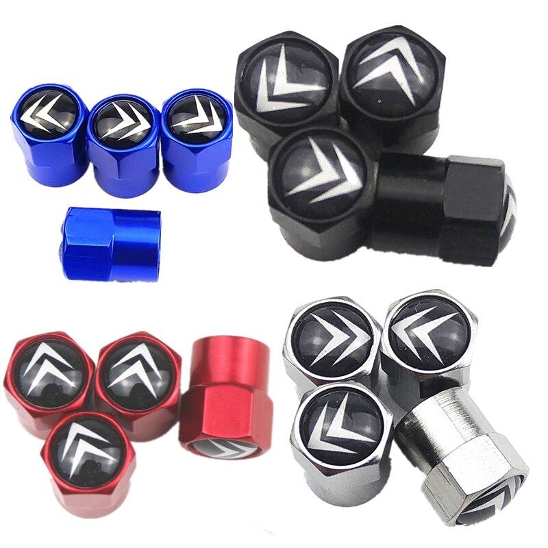 Car Styling 4pcs Aluminum Alloy SPORT Emblem Car Tire Valve Cap Tyre Air Stems Caps For Citroen C4 C5 C3 C2 C1 C4L Picasso Saxo