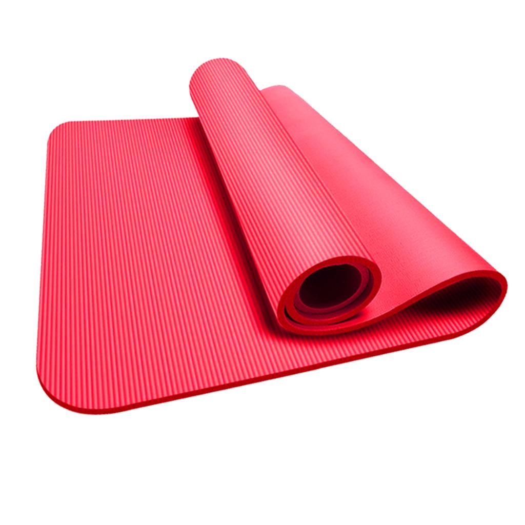 10mm NBR Yoga Pilates Mat Gymnastic Workout Pad Non-Slip Exercise Dancing Cushion Fitness Equipment for Beginner Unisex 183x61cm