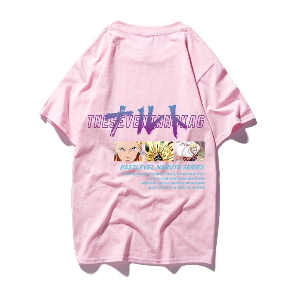 FZ01015 японский Харадзюку стиль оверсайз футболка для мужчин аниме Наруто печати короткий рукав футболки для мальчиков повседневные хлопковые топы - Цвет: Розовый
