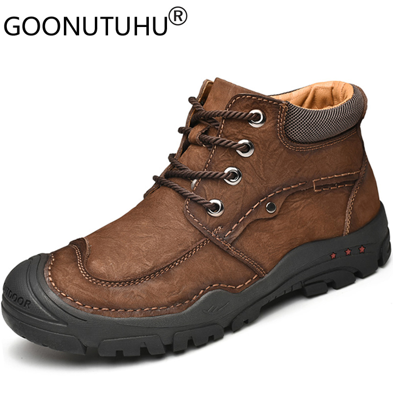 Buy Fashion men's shoes casual genuine leather sneakers male high top lace up shoe man classic brown black comfortable shoes for men