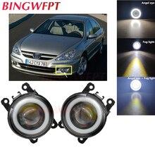 2x High power H11 LED Fog Lamps Angel Eye light with Glass len 12V For Peugeot 607 (9D, 9U) Saloon 2000-2006