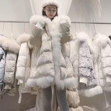 معطف سميك كبير الحجم للشتاء حقيقي منغوليا الأغنام الفراء طوق 90% بطة بيضاء أسفل معطف طويل المرأة