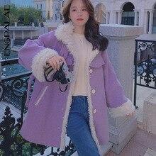Jacket SHENGPALAE Coat Wool-Collar Single-Breasted-Belt Cotton-Padded Purple Winter Women's