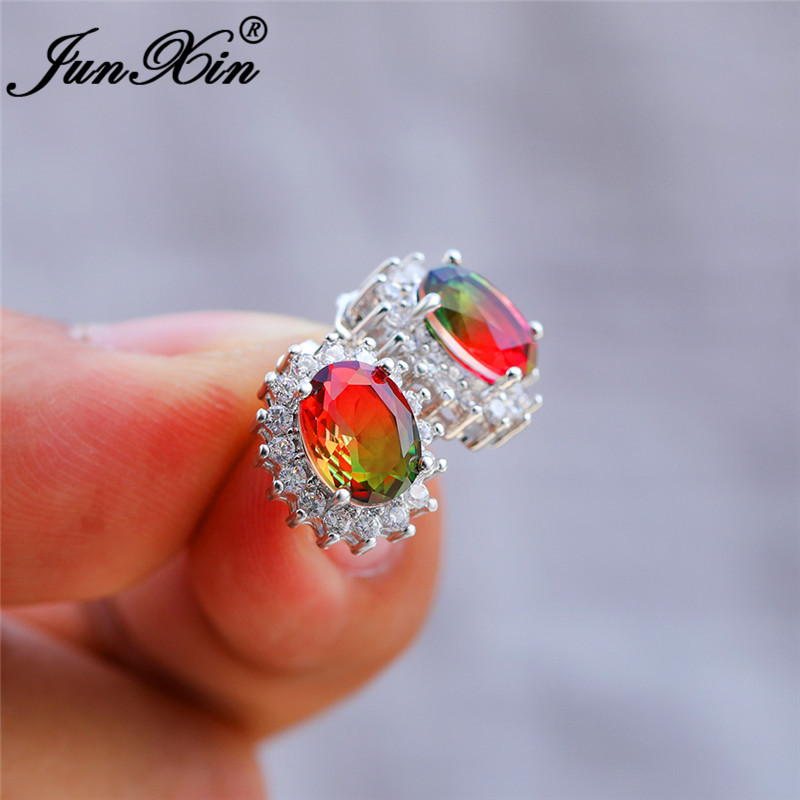 Mystic Red Green Stone Sunflower Earrings White Gold Colorful Rainbow Fire Crystal Oval Stud Earrings For Women Wedding Jewelry