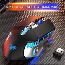Bezprzewodowa mysz do gier akumulator Bluetooth 3.0/5.0 2.4G 3 tryby 7 przyciski 1600 DPI mysz ergonomiczna Gamer na Laptop