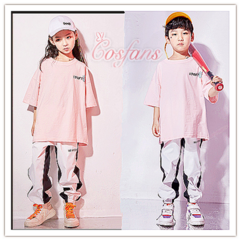 Hip Hop Dance Costumes Kids Pink Short Sleeve Tops Trousers Jazz Stage Dancing Wear kids boys girls hip hop dance clothes hotsal
