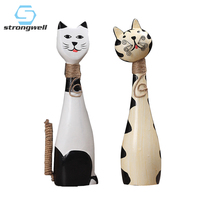Strongwell 2pcs Nordic Wooden Cat Model Ornaments Home Decor Wood Carving Painting Crafts Cat Miniature Furnishing Articles Gift