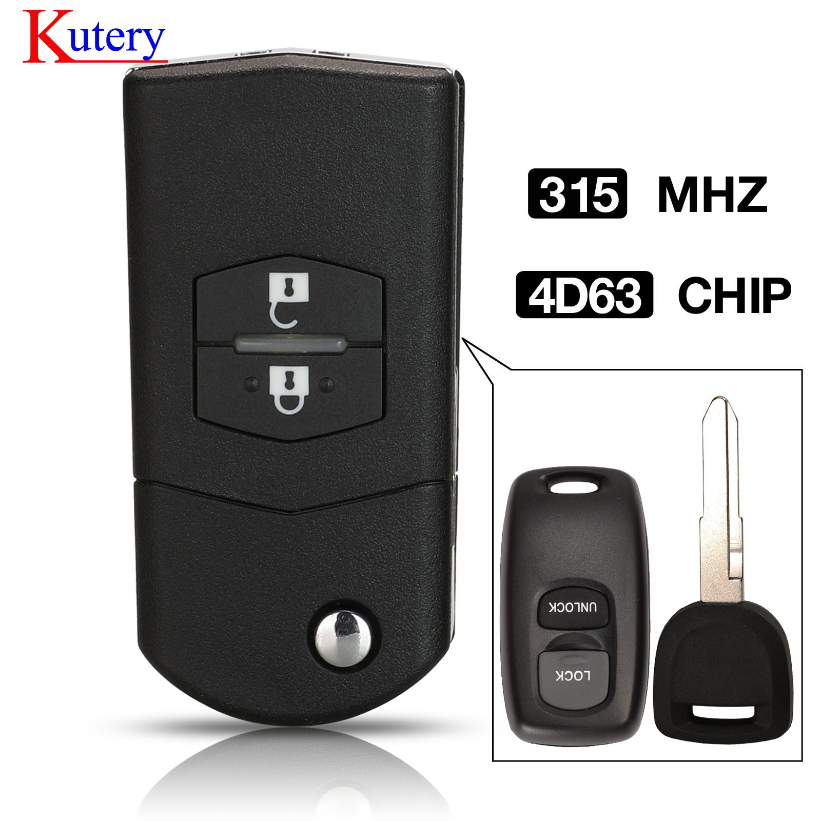kutery upgrade Flip Remote Car Key 2 Buttons 315MHz 4D63 Chip Fob for Mazda 3 6 Visteon Model No. 41528 or 41797 image