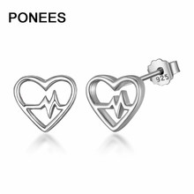 Ponees Heartbeat Cubic Zirconia Heart Stud Earrings Jewelry 100% 925-Sterling-Silver For Women Gift татуировка переводная heartbeat