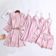 QWEEK 2020 Satin Sexy Lace Pajamas Four piece Set Pyjama Silk Homewear Spaghetti Strap Pijama Women Sleepwear with Chest Pads