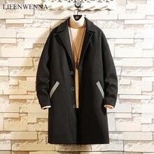 Nueva marca de moda de invierno Otoño, ropa para hombre, chaqueta de tendencia, abrigo de lana para hombre, abrigo largo entallado de lana de pavo real y mezclas de invierno 3XL