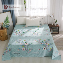 Liv-Esthete Pastoral Flower Flat Sheet Printed Bed For Single Double Queen King Cover Linen Children Adults