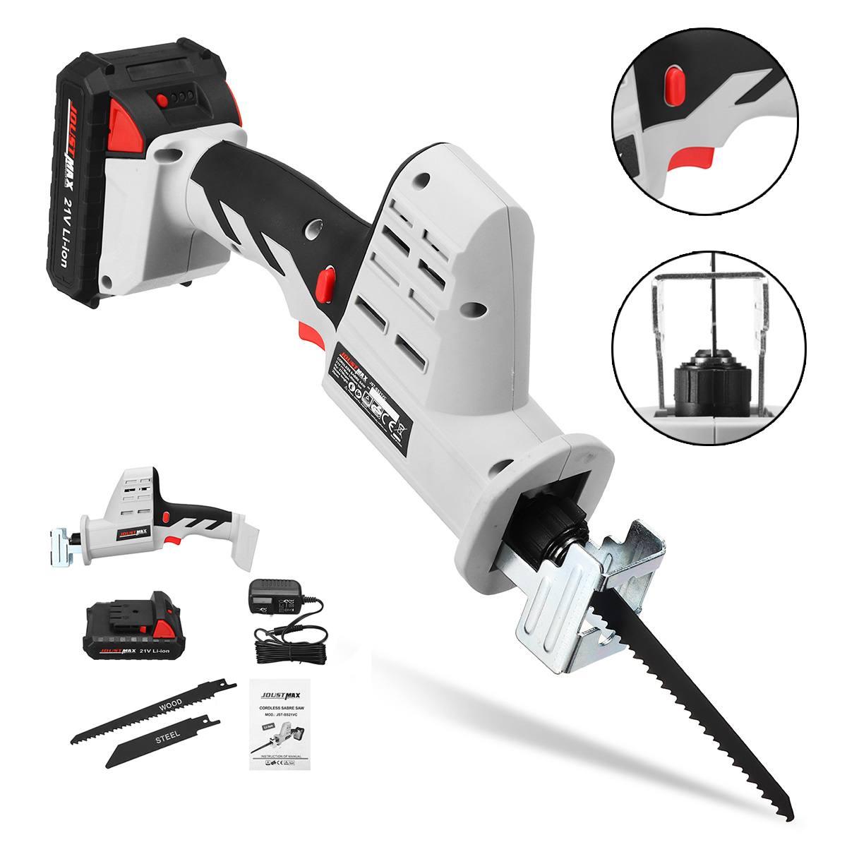 Scie alternative 21V avec batterie scie électrique Portable sans fil lames de chargement de batterie scies à chaîne en métal en bois outil de coupe