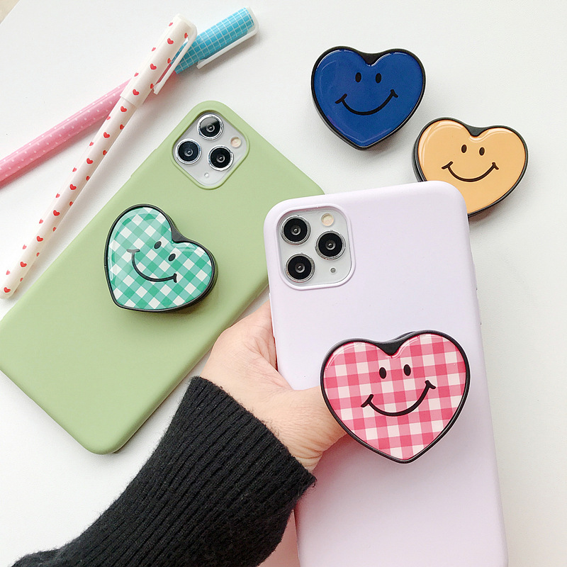Novelty Ins Stylish Bear Smile Words Heart-shapped Jelly stand holder cellphone accessories Sticker