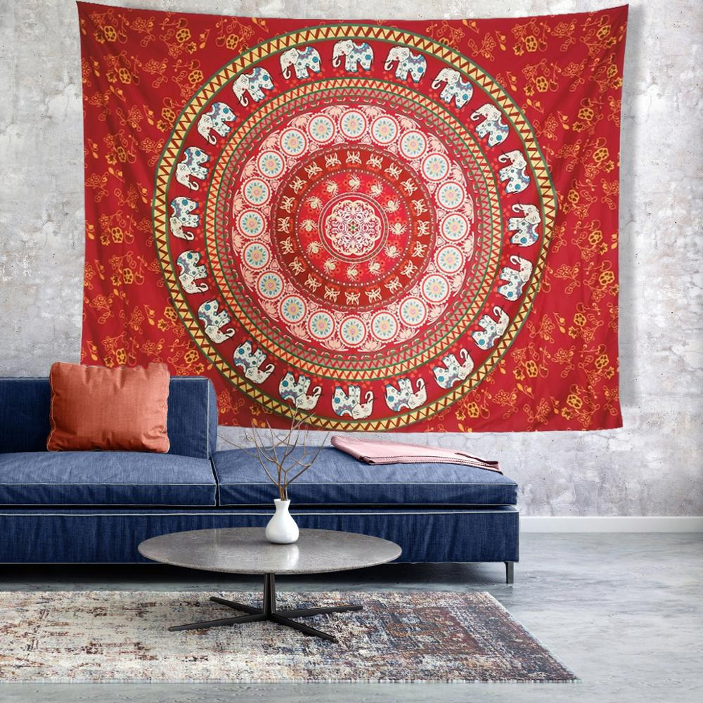 Indian Elephant Red Print Wall Hanging Carpet Throw Yoga Mat for Home Bedroom Decor Mandala Polyester <font><b>150*200</b></font> CM Square Tapestry image