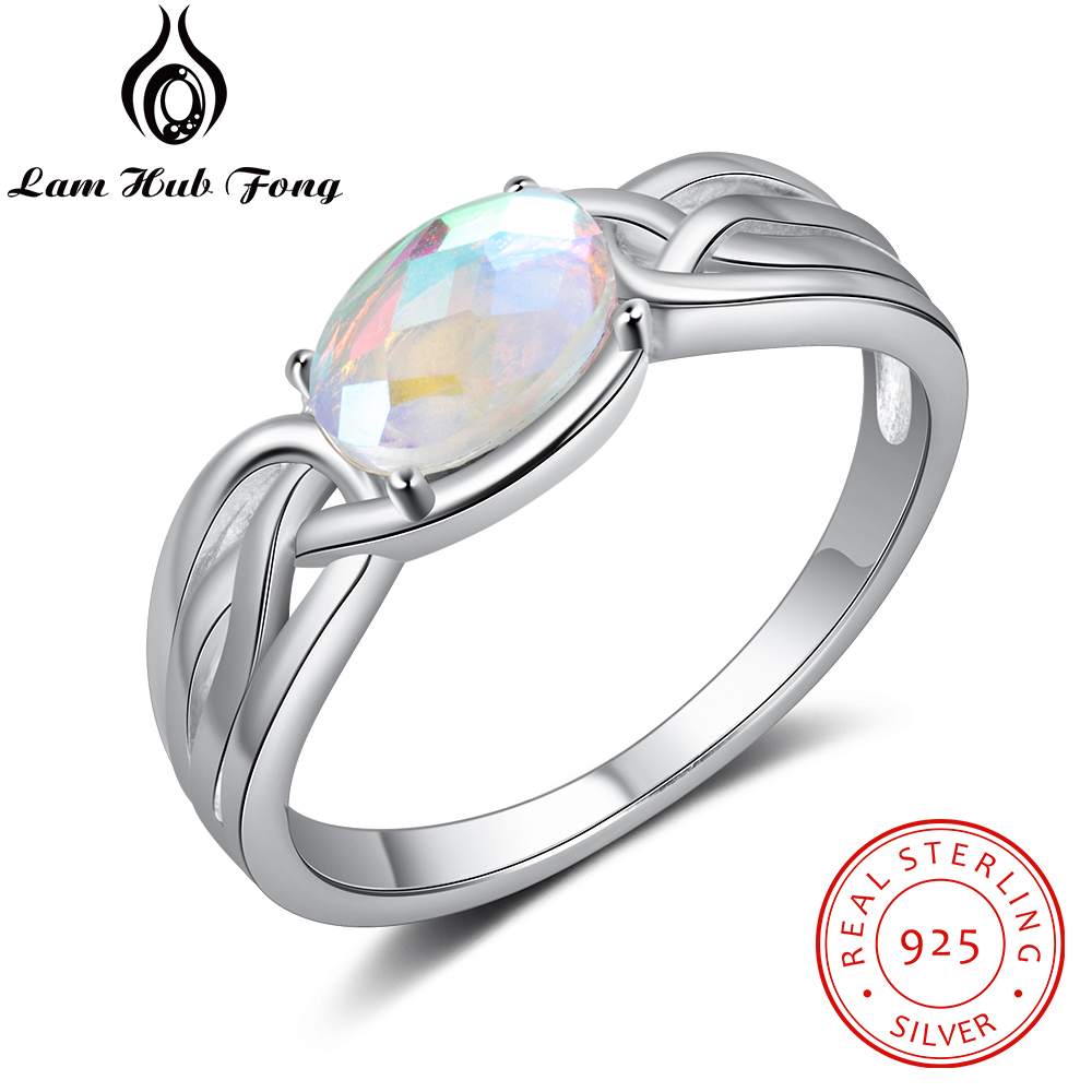 Vintage 925 Sterling Silver Finger Rings Bohemia Style Oval Moonstone Ring Wedding Party Gift Fine Jewelry (Lam Hub Fong)