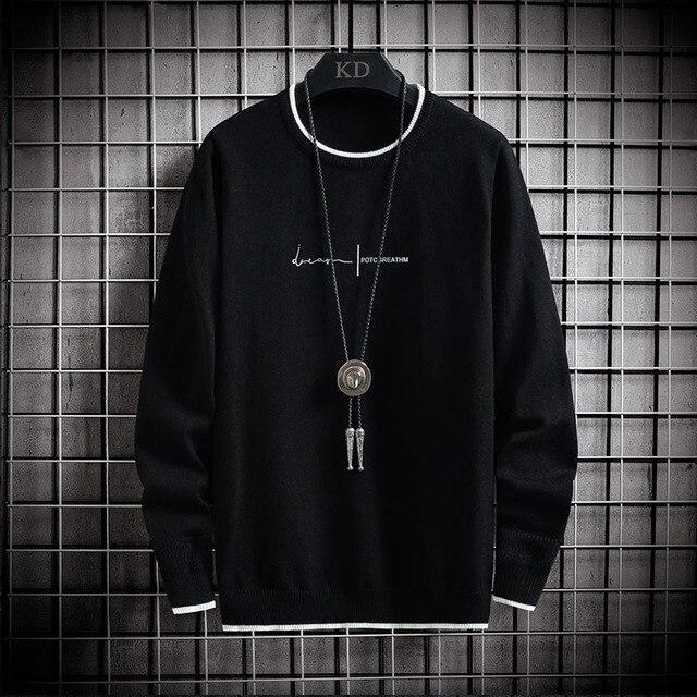 Jersey de manga larga para hombre, jersey de moda coreana, Jersey de punto de cuello redondo informal, ropa de talla asiática, 2020 1